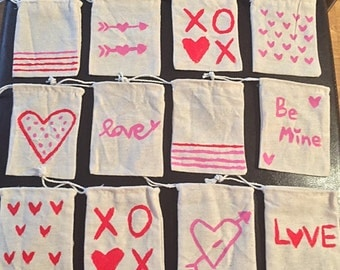 Valentine's Day Muslin Favor Bags- Set of 12