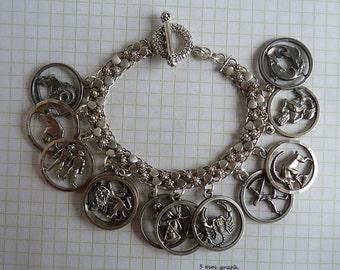 Vintage Sterling Silver Anson Zodiac Astrology Charm Bracelet