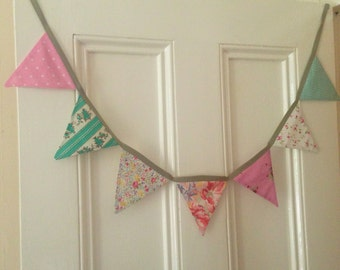 Medium Fabric Bunting in mixed vintage patterned fabrics