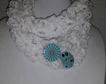 White cowl with blue buttons