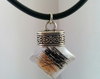 Caramel and black horsehair pendant