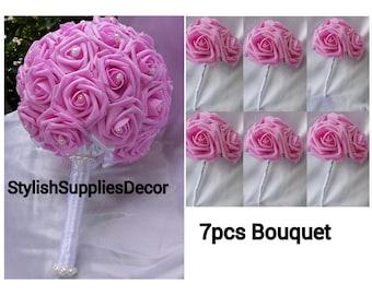7pcs Pink Bridal Bouquet Pearl Bridal Bouquet Pink Wedding Bouquet Pink Brooch Bouquet Rhinestone Bouquet Rhinestone bridal Bouquet Wedding