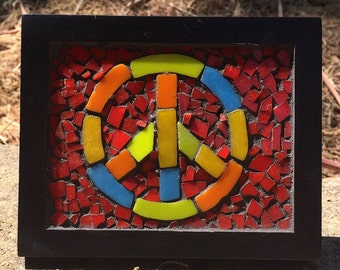 Peace Sign Mosaic, glass on glass
