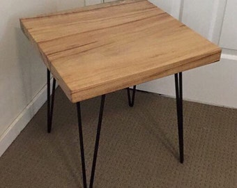 Timber Slab Side Table w/ Hairpin Legs