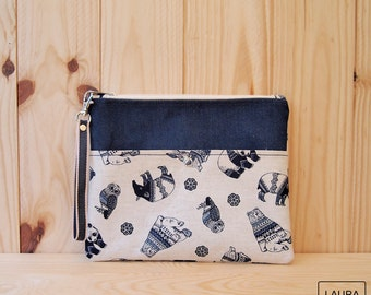 multi-purpose case in cowboy and flax / multipurpose case jeans & linen
