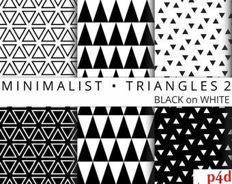 "Minimalist Triangles 2 - Black on White, Digital Paper, 12""x12"", 300 dpi JPG, Printable, Instant Download"