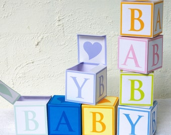 6 Baby Cube Gift Boxes - Favor Box, Treat Box - Printable PDF, Instant Download