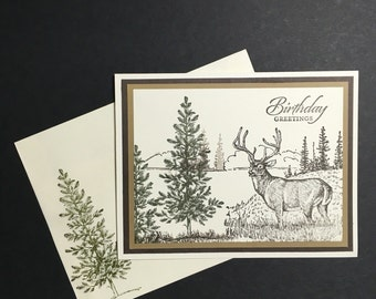 Deer in Forest Birthday Card
