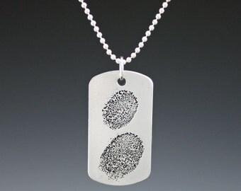 Fingerprint Aluminum Dog Tag Pendant Necklace- Your Fingerprints Etched