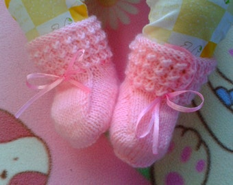Knitted Baby Booties for 0-3 months, 3-6 months and 6-12 months