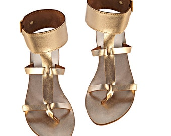 "gold leather sandals ""Dimitra"""