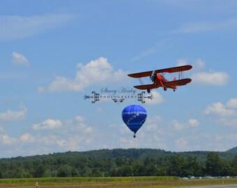 Red Bi Plane blue hot air balloon  8x10 matted in 11x14.