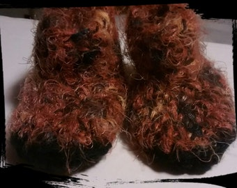 Furry infant slippers