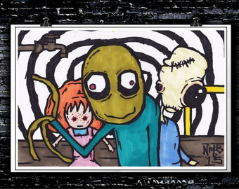 Salad Fingers - A4 Signed Art Print (Inspired by Salad Fingers)