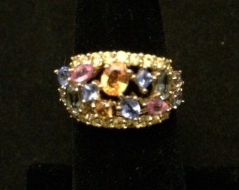 14k yellow gold with multicolored semi-precious gemstones