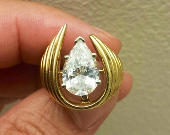 18K Yellow Gold With CZ, Size 4.25