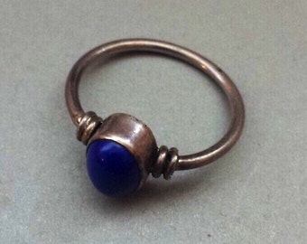 Sterling Silver .925 Ring With Lapis Lazuli, Size 6.75