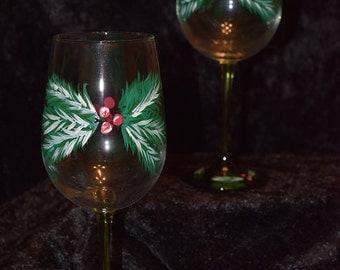 Winter Pine with Berries Wine Glasses