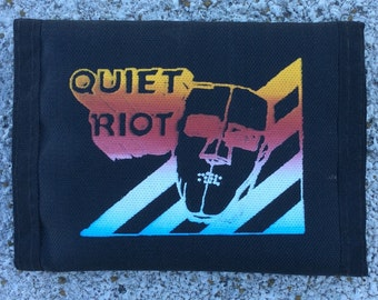 SPRING SALE Vintage Black Nylon Quiet Riot 1980s Trifold Band Wallet