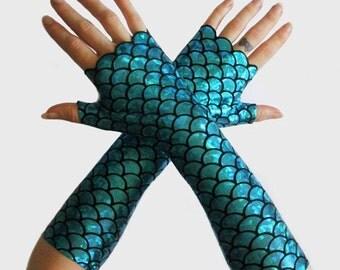Handmade Holographic Mermaid Gloves Doof Burning Man Psycadelic  Arm Warmers
