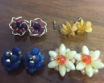 Lot of 4 Vintage Beaded Earrings