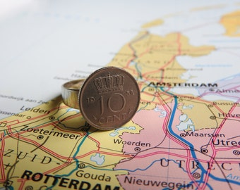 Netherlands dime coin ring in birth year 1960 - 1961 - 1962 - 1963 - 1964 - 1965 - 1966 - 1967 - 1968 - 1969