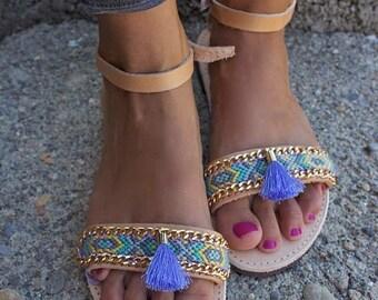 OOAK unique greek Sandals with pastel friendship bracelet and tassel