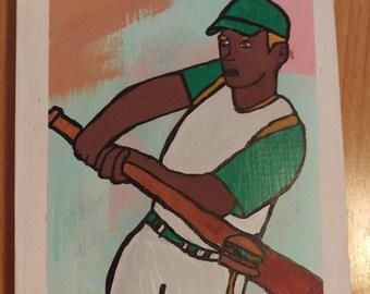 Baseball Hamburger- Outsider, Folk Art, Original
