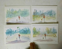 Running in snow with dog Original Watercolor Painting (greeting card) Ultra Runner Trail Running Outdoor Adventures