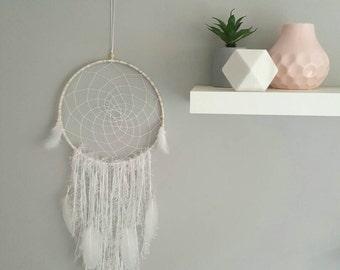 White dreamy feather handmade dreamcatcher