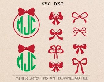 Christmas Bows svg Christmas SVG Bows svg Christmas monogram SVG Cricut downloads Xmas Svg cricut files for Silhouette christmas files
