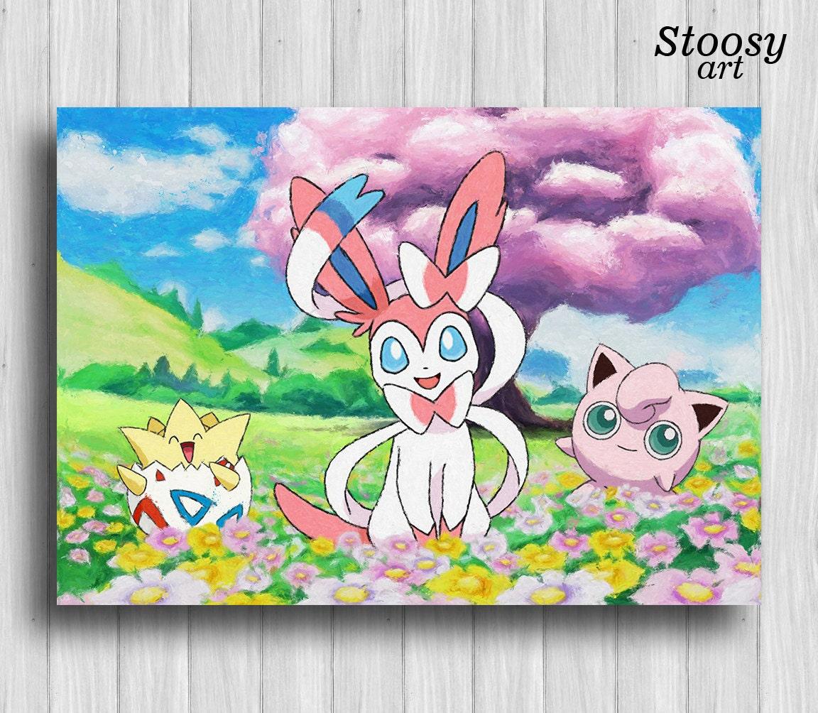 sylveon pokemon nursery print jigglypuff togepi anime painting