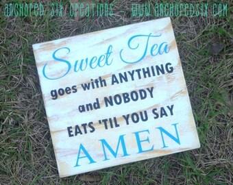 10% OFF WS0027 - Southern Charm - Sweet Tea - Amen - Custom Home Decor - Handpainted Country Home Decor
