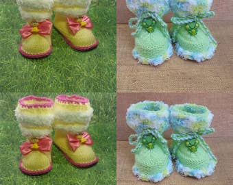 Frog , Dog booties , yellow , green baby slippers,baby gift, knitted baby booties,Girl Baby Booties, Booties, Booties for babies