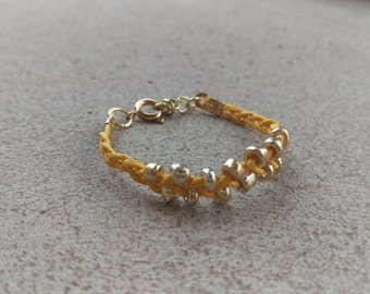 Yellow and Gold Braided Boho Stackable Bracelet / anklet with size extender - Baby, Toddler, Child & Mommy sizes