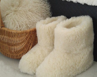 Natural Sheep Wool Boots Cozy Foot Slippers Sheepskin Womens