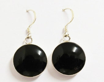 Dangle and Drop earring, Black Onyx Earring, Silver Earring, Drop Earring, Black Earring, Black Jewelry, Gift For Her, Simple Silver Earring