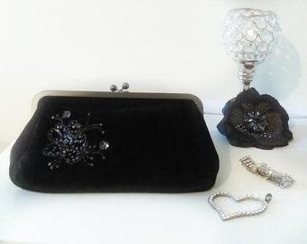 Vintage Black Velvet Clutch By Express