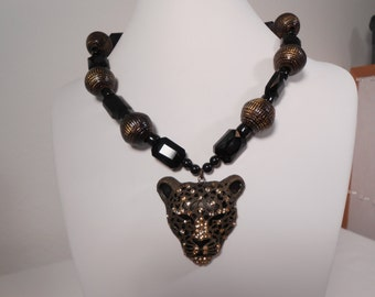 Black and gold jeweled leopard