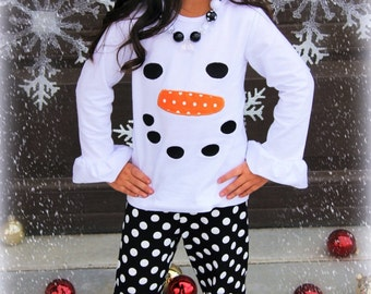 Get a Size Up For Next Year! Snowman With Orange Polka Dot Carrot Nose Boutique Outfit For Girls Infants Toddler Kids Clothes Holiday
