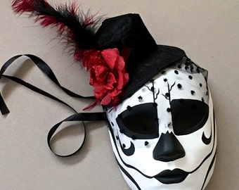 Day of the Dead Sugar Skull Full Face Dia De Muertos Flower Feather Decorated Masquerade Mask