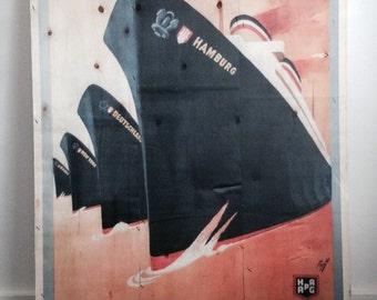 New York print on wood, wall art