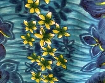 Vintage Mens Hawaiian Shirt, Mens Clothing, Hawaiian Shirts, Blue, Tropical, Floral, Green,Made in Hawaii,Copper Buttons,Buttoned Down Shirt