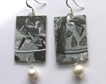 Black, white and pearl earrings