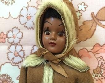 Eskimo Girl Doll Wearing A Hooded Fur Coat