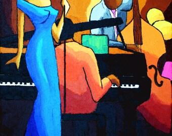 Poster Blue Jazz singer signed O.BOISSINOT