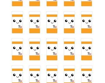 Prescription Bottle Kawaii Planner Stickers