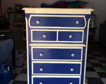 Blue and Yellow Nautical Dresser