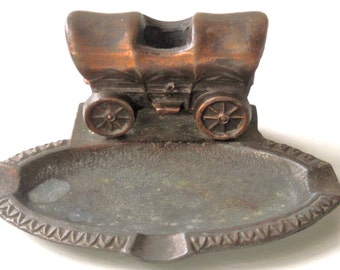 Ashtray--Bronze- ? /  1950 / COVERED WAGON---With a Place  for Matches in the Top / Gift for Smoker / Country /  Western  Decor / Tobacco