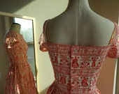 1950's 1960's cherry red white folk print Lanz original day dress waffle fabric excellent quality